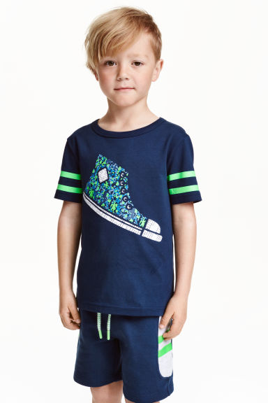 Printed T-shirt - Dark blue - Kids | H&M CN