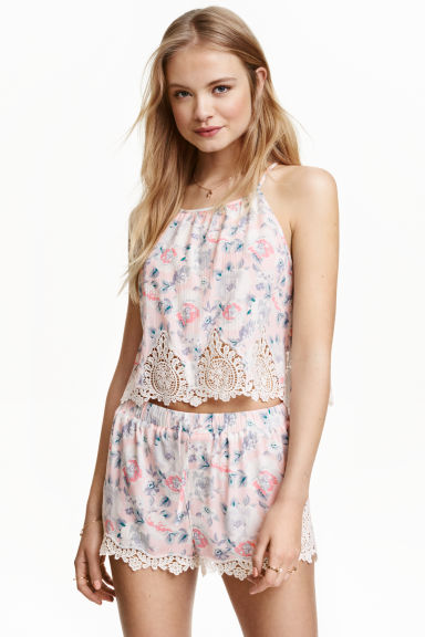 Patterned strappy top - Powder pink/Floral - Ladies | H&M CN