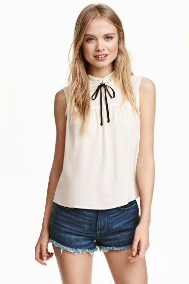 Lace-collar blouse - Natural white -  | H&M CN