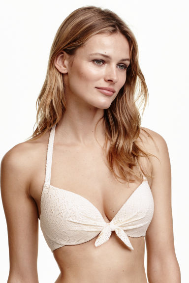 Padded underwired bikini top - Natural white/Lace - Ladies | H&M