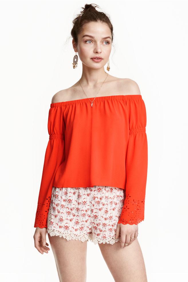3f4f857c6b Blusa hombro descubierto - Naranja - | H&M ...