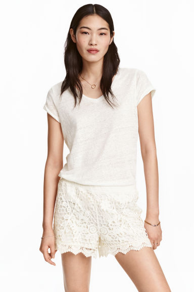 Lace shorts - Natural white - Ladies | H&M GB