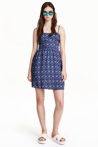 Abito corto - Blu scuro/fantasia - DONNA | H&M IT