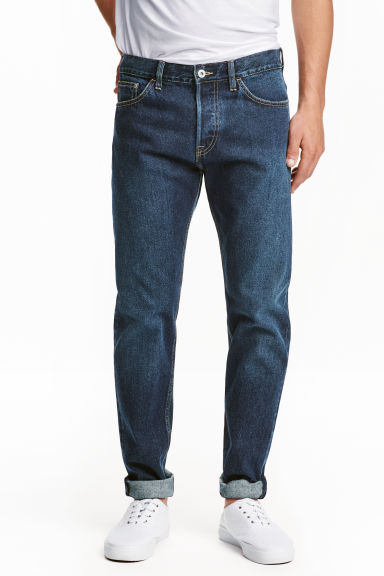 Slim Regular Tapered Jeans - Dark denim blue - Men | H&M CN