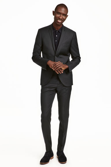 Suit trousers in wool Slim fit - Black -  | H&M CN