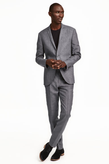 Linen suit trousers - Grey marl - Men | H&M GB