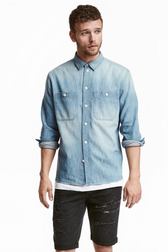 e78015d63 Camisa vaquera - Azul denim - HOMBRE