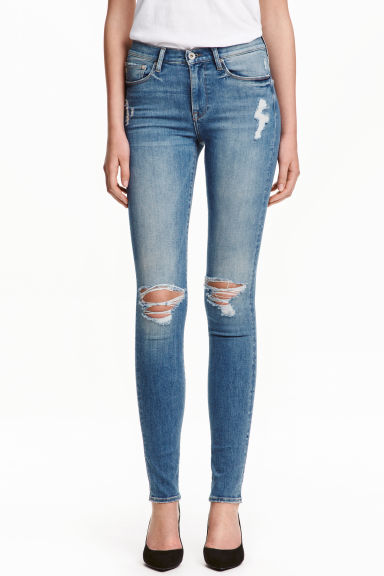 Shaping Skinny Regular Jeans - Denimblå/Sliten -  | H&M FI