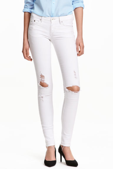 Super Skinny Low Trashed Jeans - Bianco -  | H&M IT