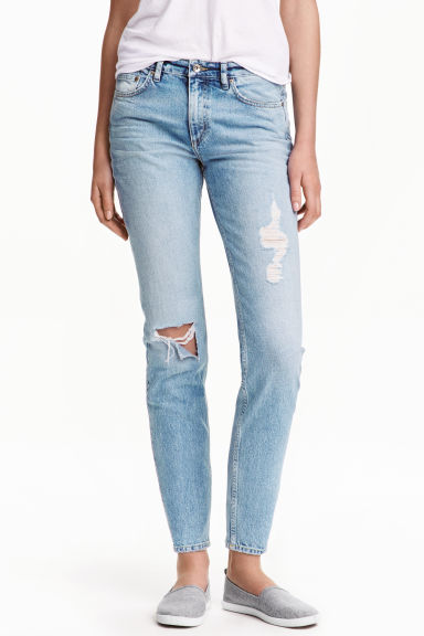 Relaxed Skinny Ankle Jeans - 浅牛仔蓝 - Ladies | H&M CN