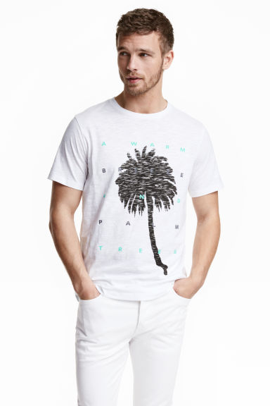 Printed T-shirt - White/Palm - Men | H&M