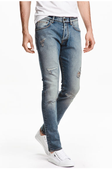 Trashed Skinny Jeans - Azul washed out - HOMBRE | H&M ES