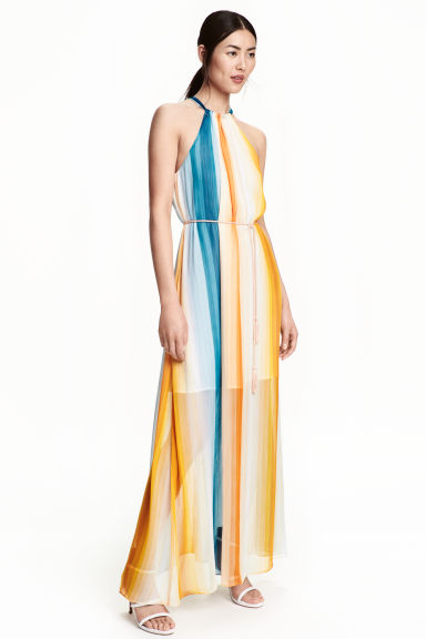 Long chiffon dress - Multistriped - Ladies | H&M GB