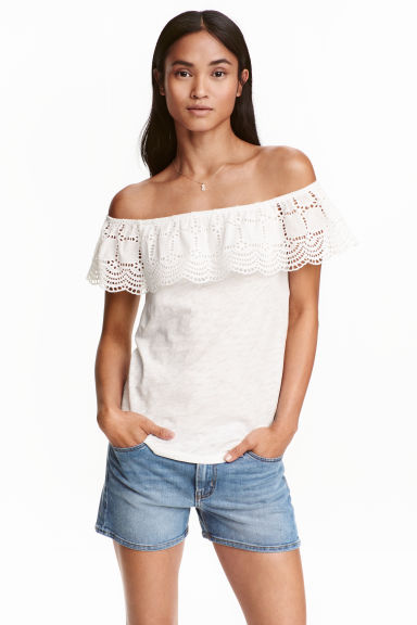 Off-the-shoulder top - White marl - Ladies | H&M GB