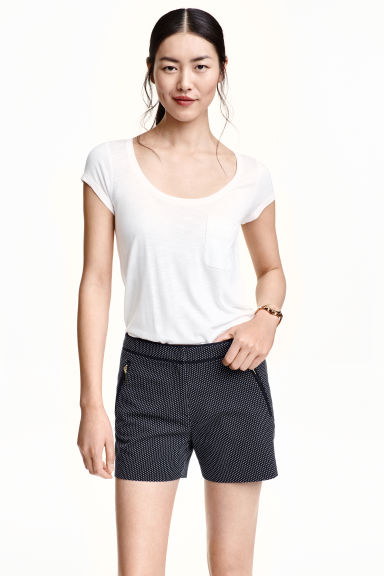 Jacquard-weave shorts - Dark blue/Patterned -  | H&M CN
