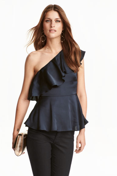 One-shoulder top - Dark blue -  | H&M CN