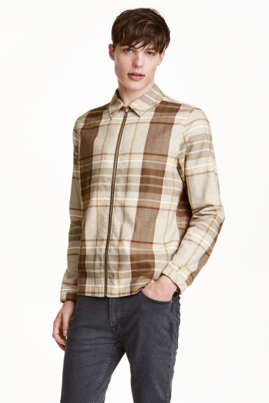Giacca-camicia in flanella - Beige/quadri -  | H&M IT