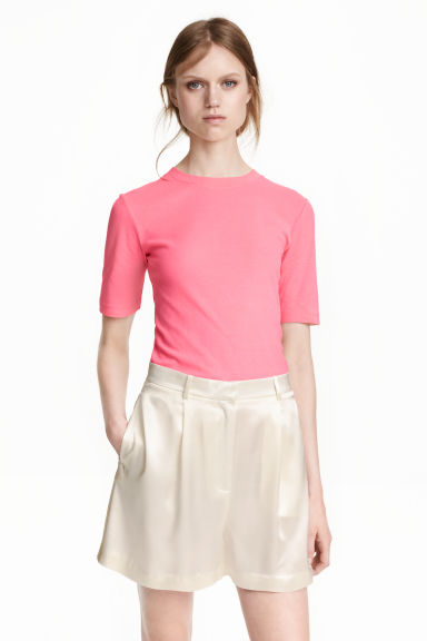 Fitted jersey top - Pink -  | H&M GB