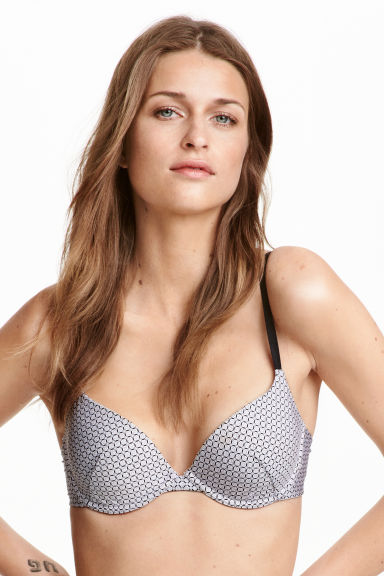 Push-up beha van microvezel - Zwart/wit dessin - DAMES | H&M BE