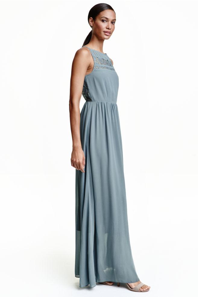 c06231f5115 Chiffon maxi dress with lace - Dusky blue - Ladies