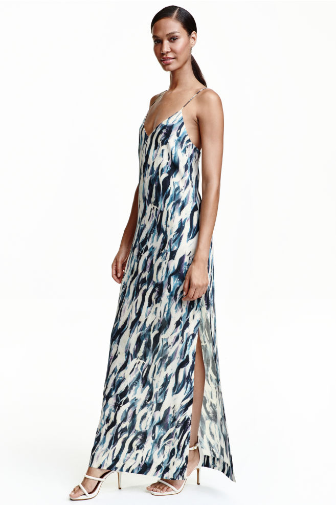 4dfeddb6b455f23 Шелковое платье с рисунком - Натуральный белый - Женщины | H&M ...