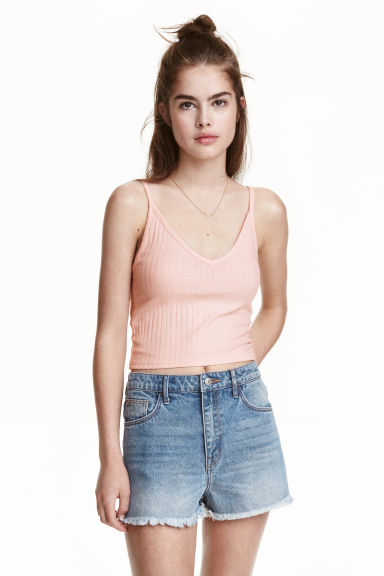 Cropped jersey strappy top - Light pink -  | H&M