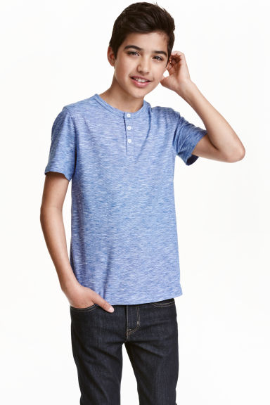 Slub jersey T-shirt - Blue/Narrow striped -  | H&M