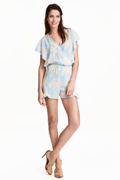 Playsuit - Light blue/Floral - Ladies | H&M