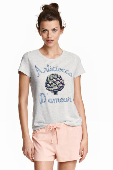 Pyjama top and shorts - Grey/Artichoke -  | H&M CN