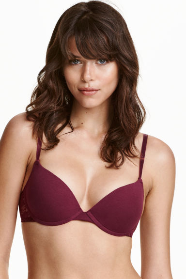 2-pack cotton push-up bras - Dark grey/Burgundy - Ladies | H&M