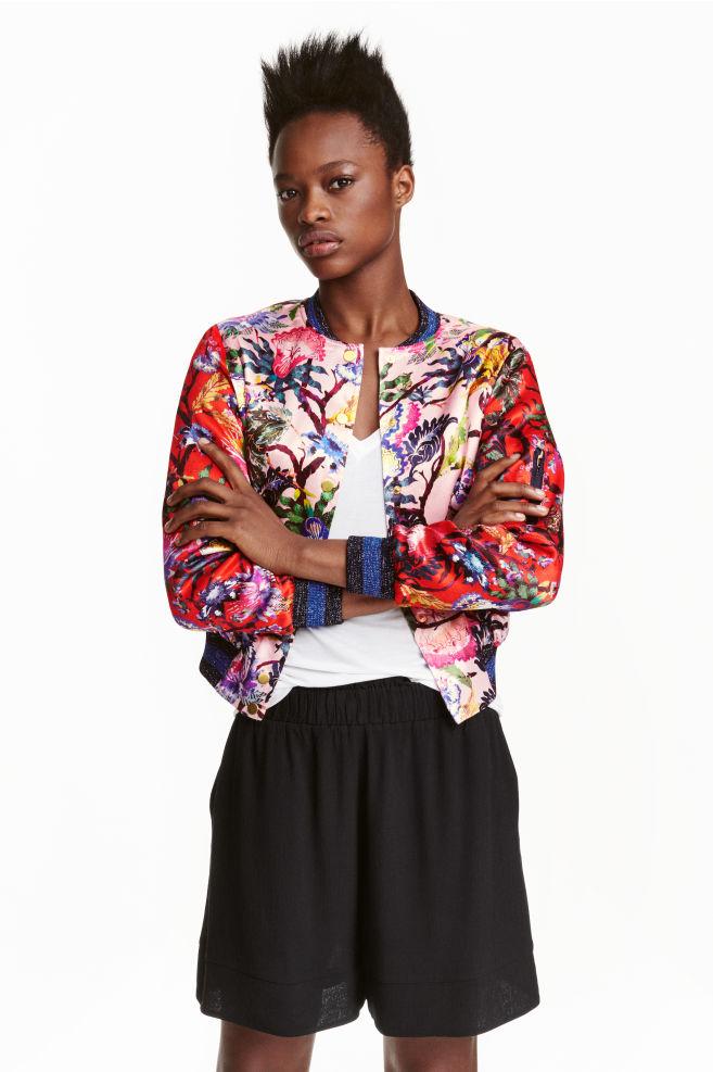 c8dd1c6d0fc Пилотско яке с десен - Червен/Цветя - ЖЕНИ | H&M ...