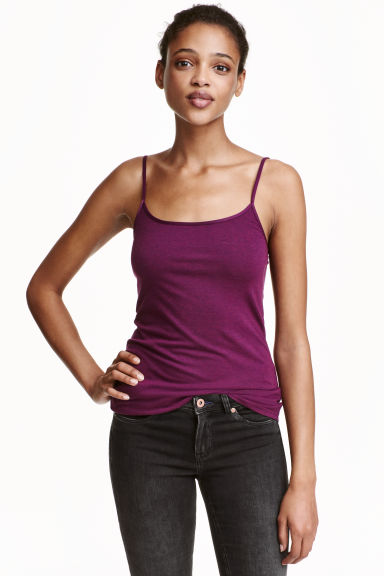 Long jersey strappy top - Burgundy -  | H&M CN