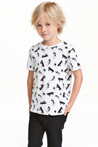 Printed T-shirt - White/Skateboard - Kids | H&M CN