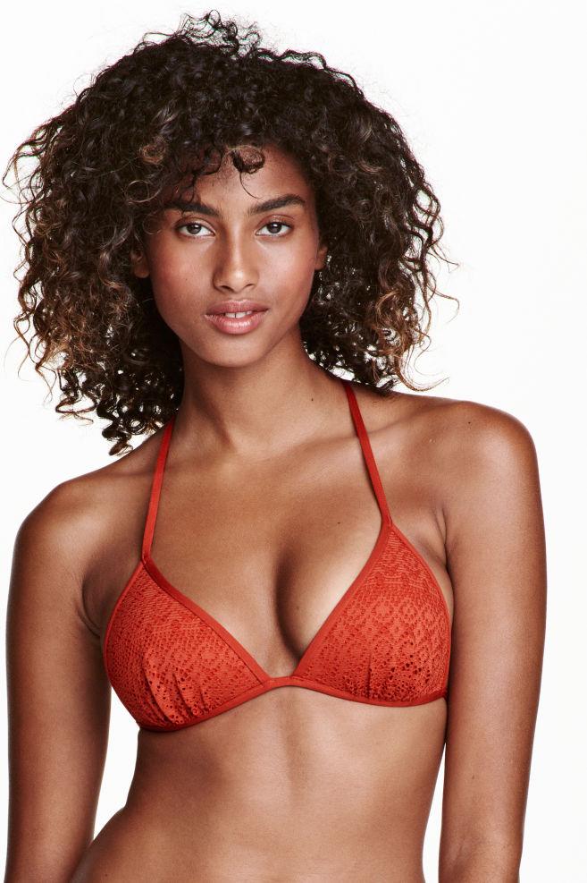 1e84dc4bf5 Push-up triangle bikini top - Rust red - Ladies | H&M 1