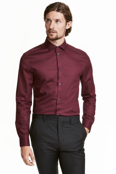 Premium cotton shirt - Burgundy - Men | H&M IE
