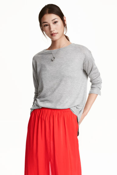 Fine-knit jumper - Grey marl - Ladies | H&M CN