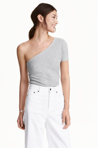 One-shoulder top - Grey marl -  | H&M