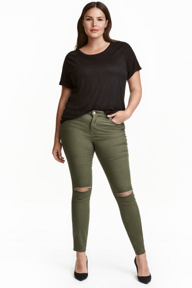 H&M+ Stretch trousers - Khaki green/Ankle-length - Ladies | H&M