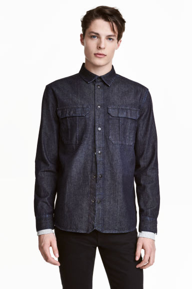 Denim shirt - Dark denim blue -  | H&M