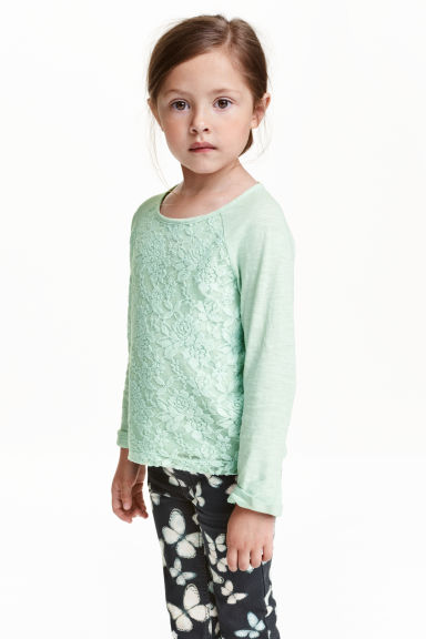 Lace top - Mint green - Kids | H&M CN