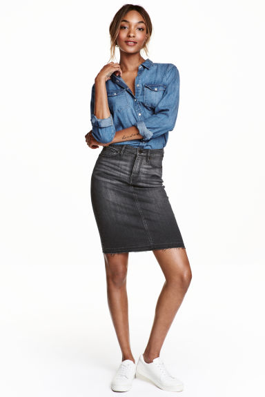 Denim skirt - Black -  | H&M GB