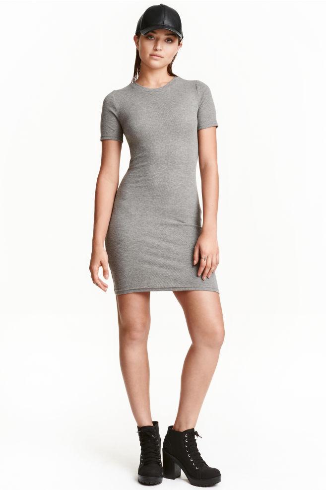 Fantastyczny Sukienka z dżerseju w prążki - Szary - | H&M PL SG12