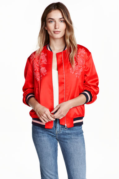 Embroidered bomber jacket - Red - Ladies | H&M GB