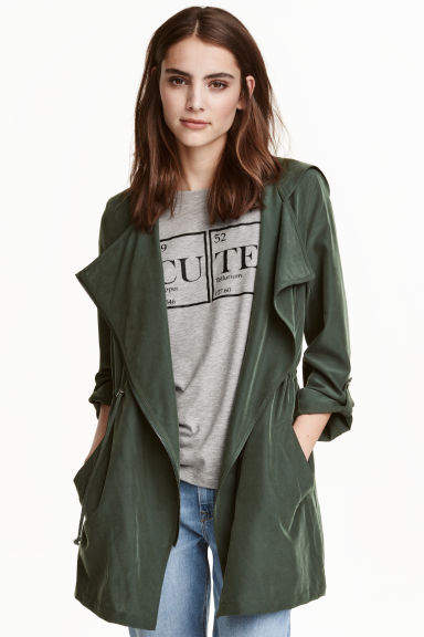 Parka with hood - Dark green -  | H&M GB