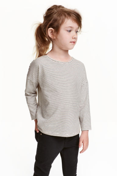 Jersey top - Black/White/Striped - Kids | H&M