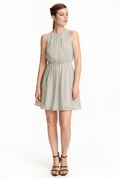 Crêpe dress - White/Patterned - Ladies | H&M CN