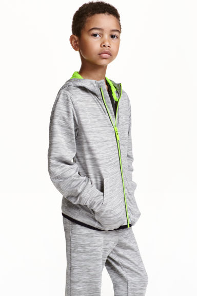Hooded sports jacket - Grey marl - Kids | H&M CN