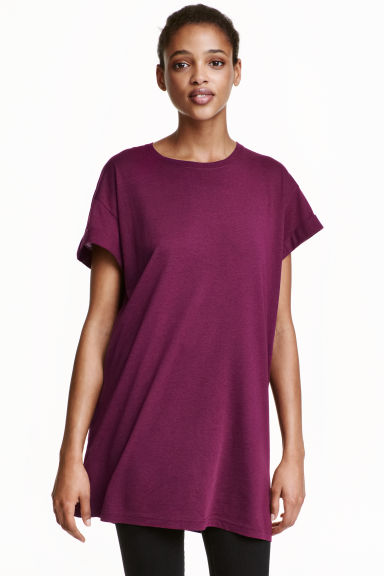 Long T-shirt - Plum -  | H&M CN