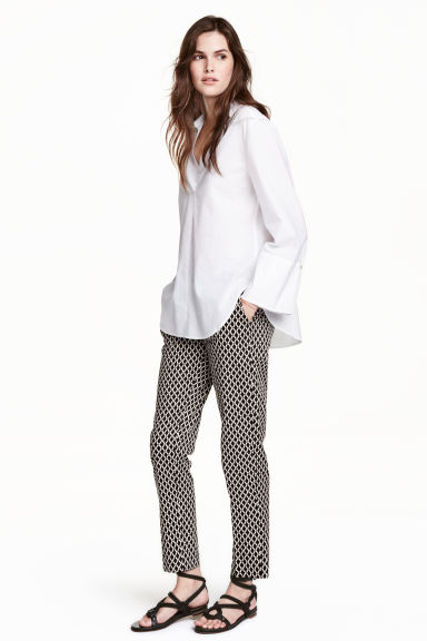 Cigarette trousers - Black/Patterned - Ladies | H&M GB