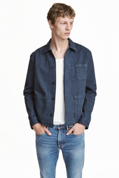 Denim shirt jacket - Dark denim blue - Men | H&M